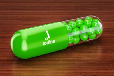 3D rendering of a capsule with iodine printed on it.