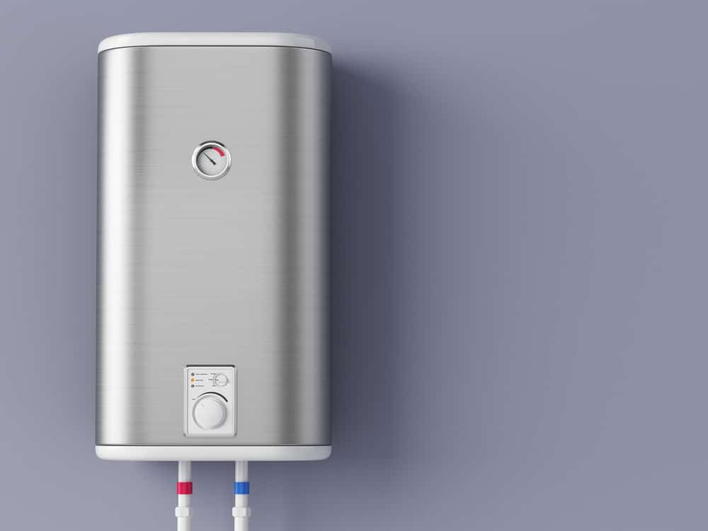 A water heater attached to a purple wall.