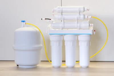 A reverse osmosis water filter.
