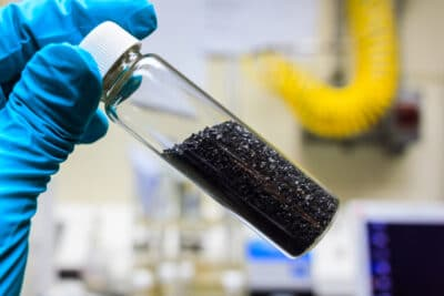 activated carbon or granular in clear bottle