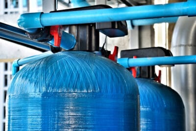 upper tank of the water softener system